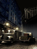 Brooklyn at night. Night scene in old Brooklyn, close to the Manhattan bridge. Two trucks parked on the street Stock Images