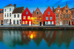 Night Bruges canal with beautiful colored houses Stock Image