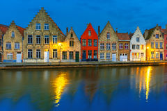 Night Bruges canal with beautiful colored houses Royalty Free Stock Photography