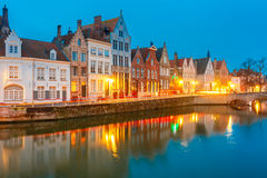 Night Bruges canal and bridge, Belgium Royalty Free Stock Photography