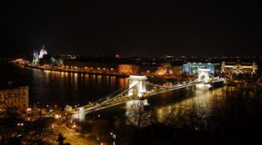 Night Budapest. View with bridge and Parliament Stock Images