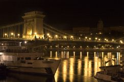 Night in Budapest. Bridge over danube and night in Budapest Royalty Free Stock Photos