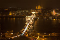 Night Budapest, Hungary. Chain Bridge and St. Stephen's Basilica, the view from above. Royalty Free Stock Photography