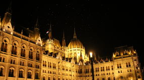 Night of Budapest. The parlement building in budapest at night, side view Stock Photography
