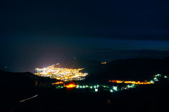 Night Budva, Montenegro. The new town, the view from the highest Royalty Free Stock Image