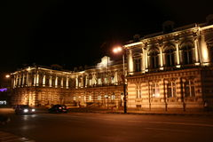 Night building. Very old building with nice lights Royalty Free Stock Photo