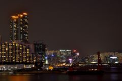 Night building beside Hongkong Victoria harbor, 2016. Building group beside Hongkong victoria harbor in night Royalty Free Stock Photos