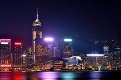 Night buildings of Hongkong Victoria harbor, 2016. Night view and lightinging of Hongkong victoria harbor Stock Photo