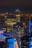 Night on the buildings of Manhattan. NEW YORK CITY, USA, September 12, 2017 : New York City and buildings of Manhattan from above. Manhattan is the most densely Royalty Free Stock Photos