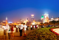 Night at the bund in Shanghai Stock Photo