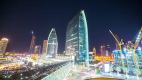 Night burj khalifa construction area time lapse stock video
