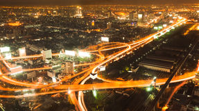 Night busy road intersection in bangkok royalty free stock image