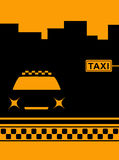 Night cab car and taxi stop Royalty Free Stock Photo