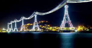 Night cable car over sea leading to Vinpearl land Royalty Free Stock Photos