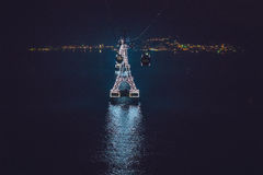 Night cable car over sea leading to Vinpearl land, Nha Trang, Vietnam Royalty Free Stock Image