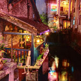 Night Cafe on balcony, near water, in small town Yangshuo. Stock Image