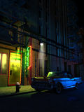 Night cafe. A classic chevrolet car, chevrolet Bel-Air, close to the entrance of a cafe, at night, in a Manhattan street Stock Images