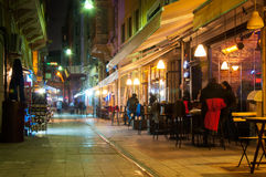 Night cafe. In the narrow streets of Istanbul Royalty Free Stock Photos