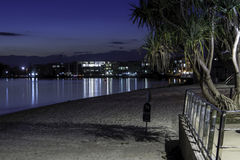 A Night In Caloundra. A beautiful little town of Caloundra is very pittoresque in the night royalty free stock photo