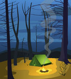 Night camp in the forest. Illustration Stock Photography