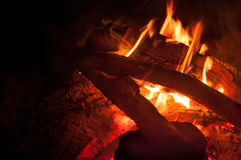 Night campfire with available space at left side Royalty Free Stock Photos