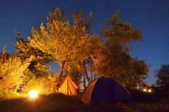 Night camping Royalty Free Stock Photo