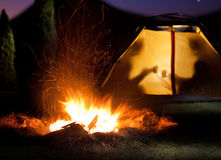 Night camping in the mountains. Royalty Free Stock Photos