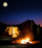 Night camping in the mountains. Stock Photography