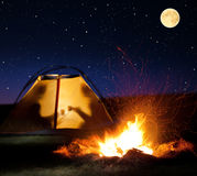 Night camping in the mountains. Royalty Free Stock Image