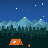 Night camping in the mountains royalty free illustration