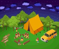 Night Camping Out Isometric Artwork Concept stock illustration