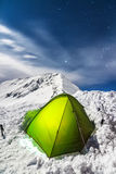 Night Camping on a Snowy Mountain Ridge Royalty Free Stock Image
