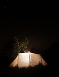 Night camping tent  on the dark sky star background . Ursa Major Royalty Free Stock Photo