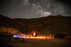 Night camping under stars Royalty Free Stock Images