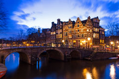 Night canal Amsterdam royalty free stock photos