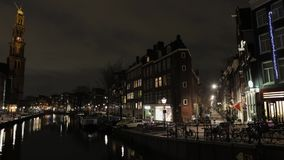 Night canals of Amsterdam. Time Lapse. stock video footage