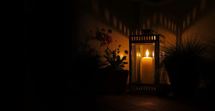 Night with candle and lantern Stock Photography