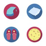 Night cap, pillow, slippers, moon. Rest and sleep set collection icons in flat style vector symbol stock illustration Royalty Free Stock Photos