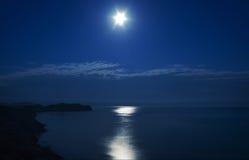 Night. Cape Chameleon under the moon. Crimea. royalty free stock photo