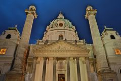 Night Capture of the Karls Church in Vienna Stock Image