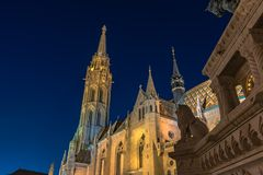 Matthias Church in Budapest at night royalty free stock photo