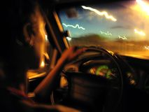 Night car drive. Car fast drive on highway in night Royalty Free Stock Photo