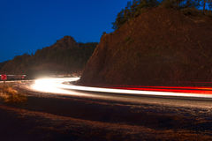 Night is a car on a mountain road Royalty Free Stock Photo