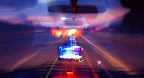Night car ride. Night drinking and driving. Image can show how the road ahead looks to a driver under the influence of subtsances Royalty Free Stock Photography