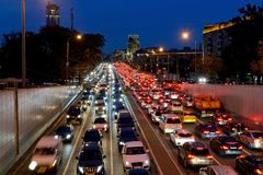 Night car traffic in the center of Moscow. Night car traffic on the Garden ring street on departure from a tunnel in the center of Moscow stock image