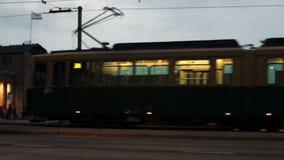 Night car traffic in Helsinki, Finland. Night car traffic on the square in Helsinki, Finland stock video footage