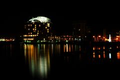 Night cardiff bay. Night shot of Cardiff bay with lights stock image