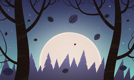 Night Cartoon Landscape Stock Photography