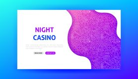 Night Casino Landing Page. Vector Illustration of Gamble Web Banner royalty free illustration