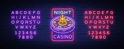 Night casino logo in neon style. Roulette Neon sign, luminous banner, night billboard, bright advertisement of casinos. Gaming machines and gambling. Vector stock illustration